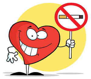 No Smoking Clipart Image: Cartoon Healthy Heart Character Holding a No  Smoking Sign That Shows