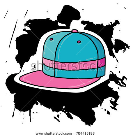 Vector trendy comic cartoon style outlined doodle illustration of fashion  girl snapback cap hat on abstract