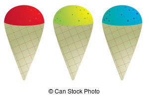 ... Snow cones in red green and blue isolated on white Snow cone Clip Artby ...