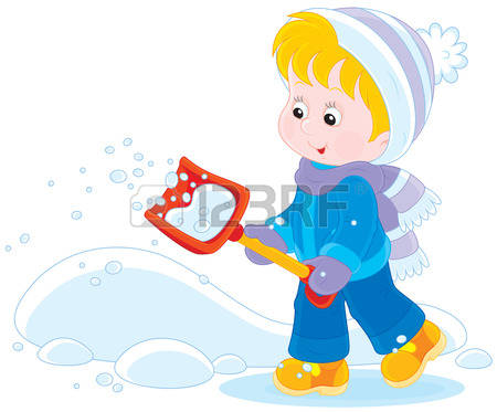 snow shovel: Child with a snow shovel Illustration