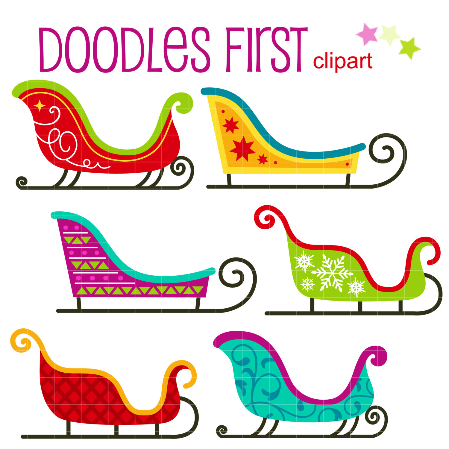 Snow Sleigh Santau0026#39;s Sled Digital Clip Art for Scrapbooking Card Making Cupcake Toppers Paper Crafts