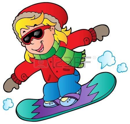 snowboard girl: Cartoon girl on snowboard illustration.