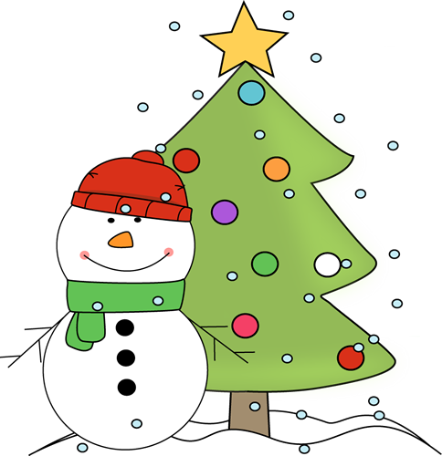 Snowman and Christmas Tree in the Snow