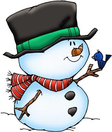 Snowman with blue bird on finger