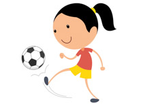 practicing hitting soccer ball with knee clipart. Size: 56 Kb