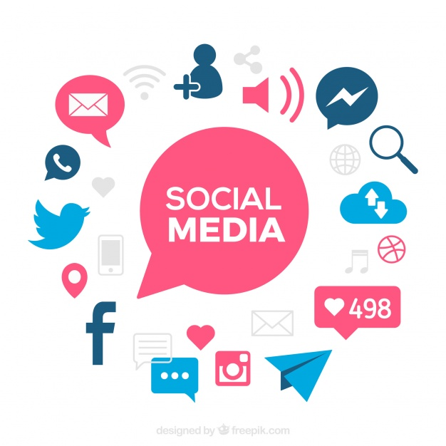 Social media background with blue details Free Vector