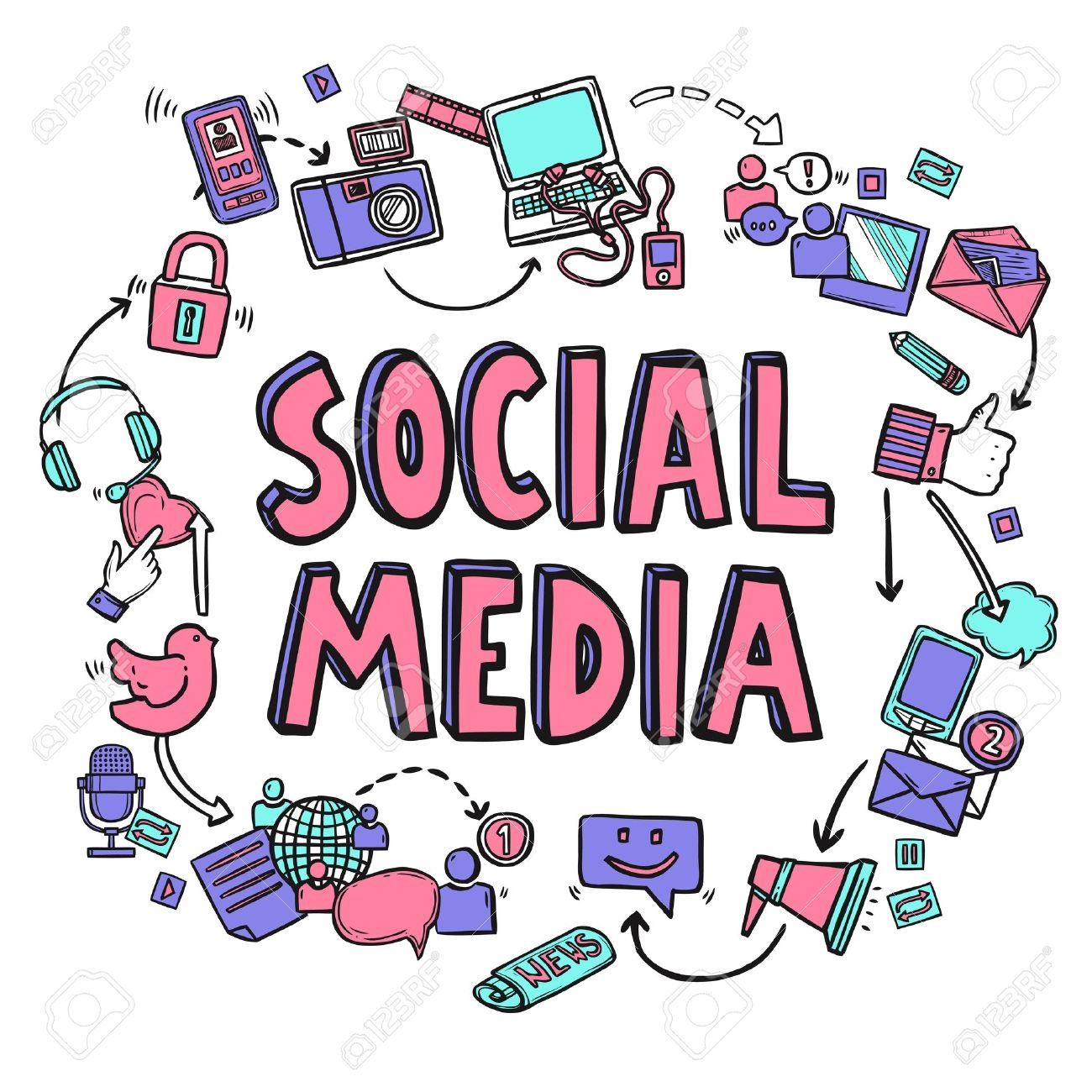 social media clipart - 15 - b - Social Media Design Concept With Hand Drawn  Conversation