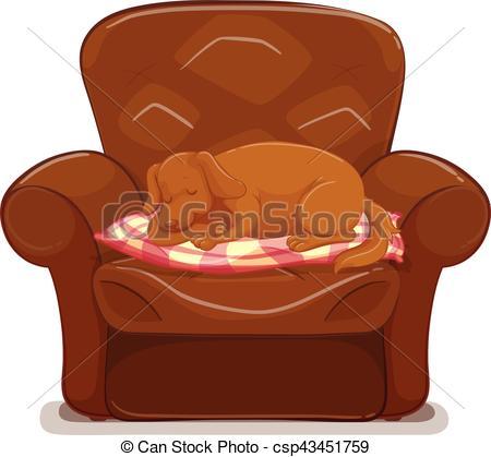 Little dog sleeping on brown sofa - csp43451759
