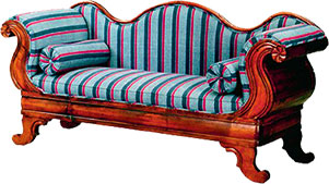 sofa in wood and fabric