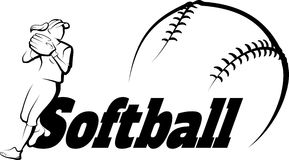 Softball Player Throwing with Text u0026amp; Ball Royalty Free Stock Photo
