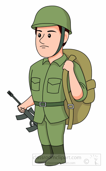 Soldier With Backpack Rifle Clipart Size: 90 Kb From: Military