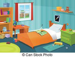 ... Some Kid Bedroom - Illustration of a cartoon children.