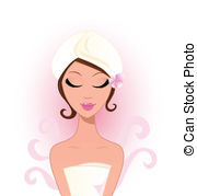 ... Spa and wellness: Beauty woman with flower - Spa woman with.