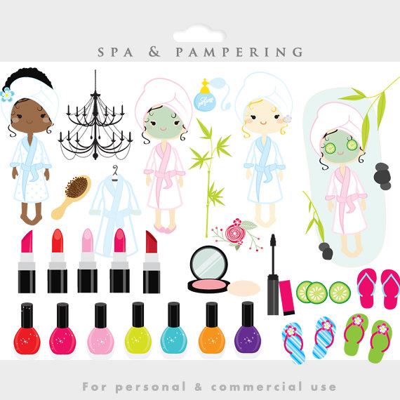 Spa clipart - sleepover clip art, slumber party, fashion, make-up, makeup, lipstick, girls day spa, nail polish, girly, perfume girlu0026#39;s night