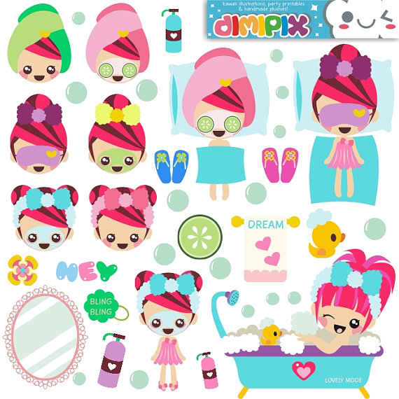 Spa party / Kit printable / Digital Clipart / Instant by DimiPix, $2.50