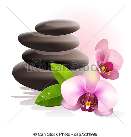 ... Spa stones and flowers - Spa stones and fresh pink orchid.
