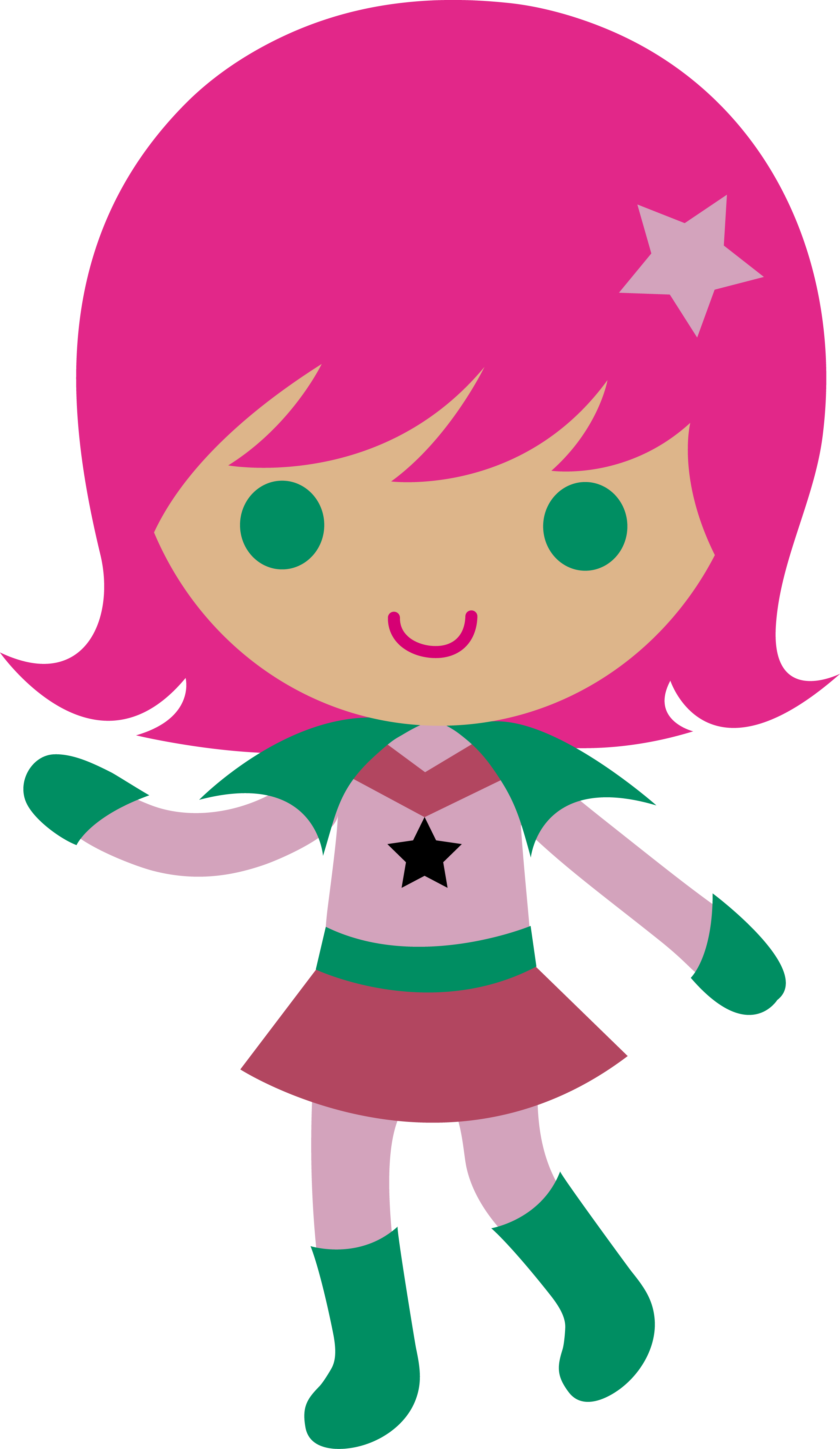 Space Cadet Girl With Pink Hair - Free Clip Art