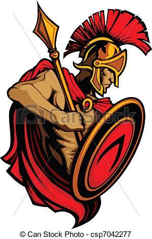 ... Spartan Trojan Mascot with Spear an - Greek Spartan or.