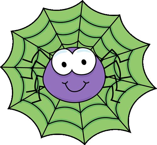 Spider in a Green Spider Web Clip Art