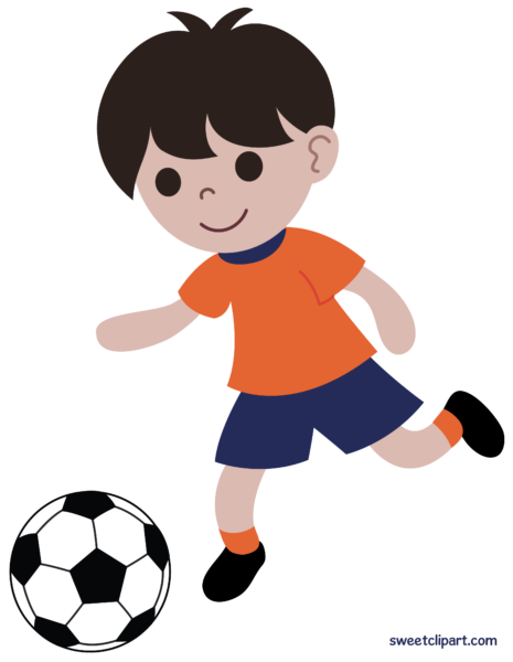 Boy Playing Soccer or Football Clip Art