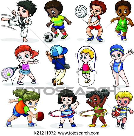 Clipart - Kids engaging in different sports activities. Fotosearch - Search Clip  Art, Illustration