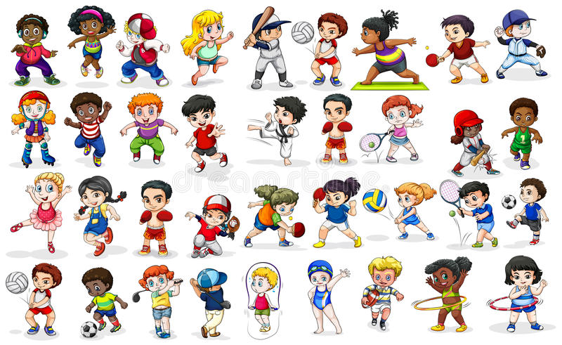 Sports Activities Clipart Children Doing Many Sports And Activities Stock Vector -  Illustration of collection, baseball: