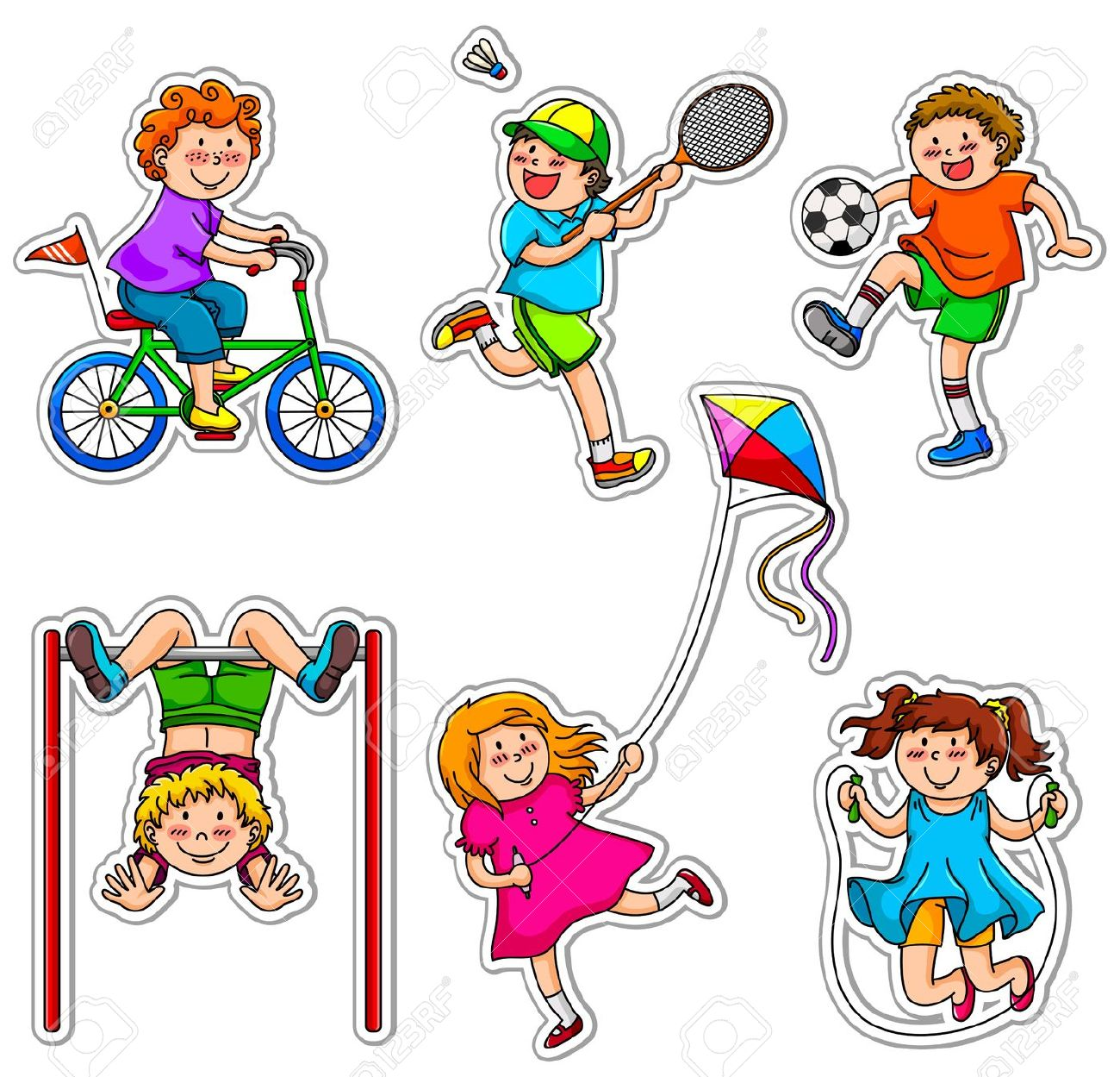 Kids Doing Physical Activities Through Play Royalty Free Cliparts, Vectors,  And Stock Illustration.