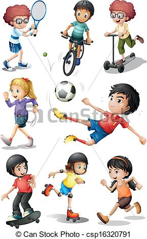 Kids engaging in different sports activities - csp16320791