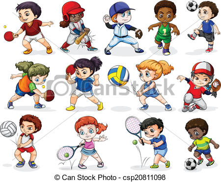 Kids engaging in different sports activities - csp20811098