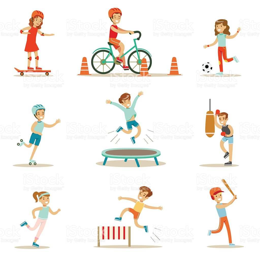 Kids Practicing Different Sports And Physical Activities royalty-free kids  practicing different sports and physical