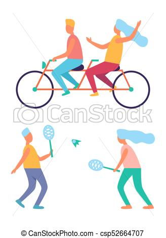 People Sport Activities Riding Bike Playing Tennis - csp52664707