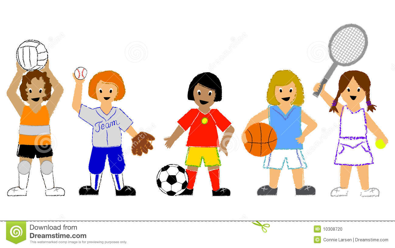 Sports Girls. Illustration of children playing volleyball softball soccer,  basketball and tennis.