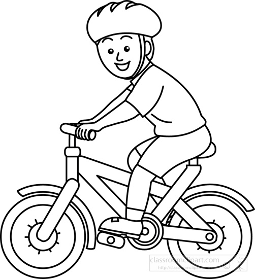 Sports Bicycle Rider Wearing Helmet Bw Outline Classroom Clipart