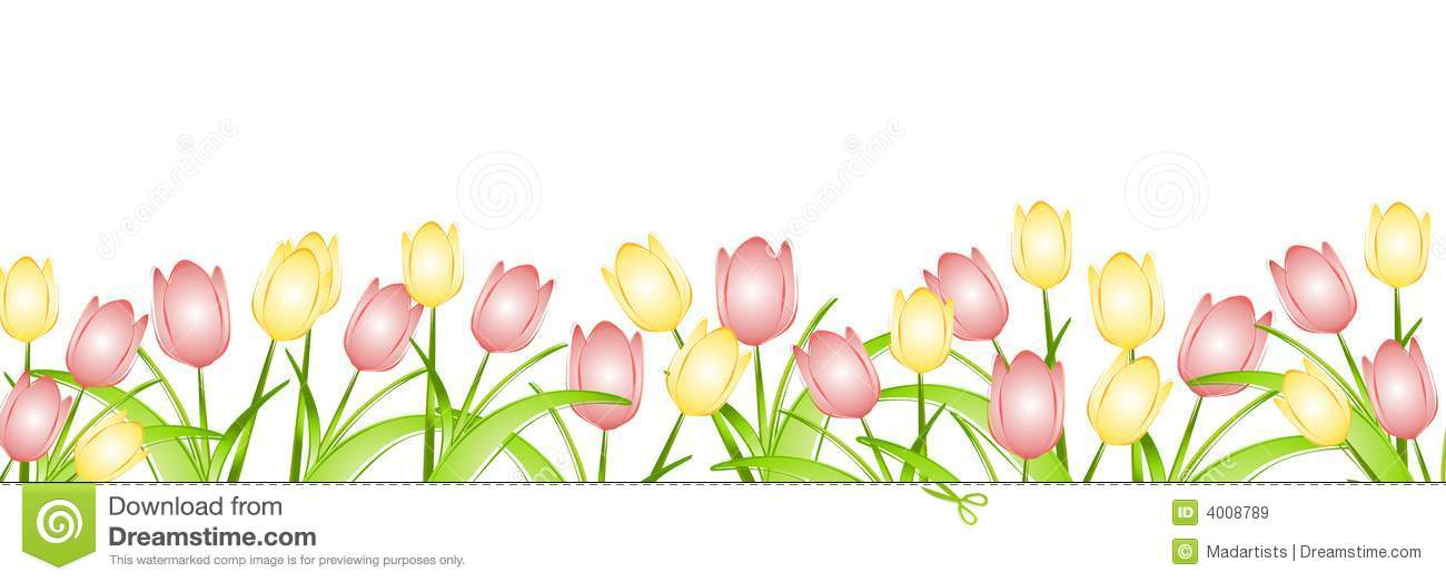 Spring Borders Clip Art Free. Row of Spring Tulips
