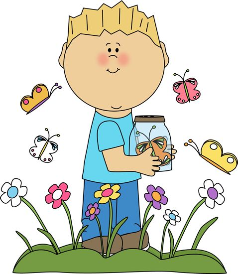 Spring Clip Art   Boy in a Butterfly Patch Clip Art Image - boy standing a