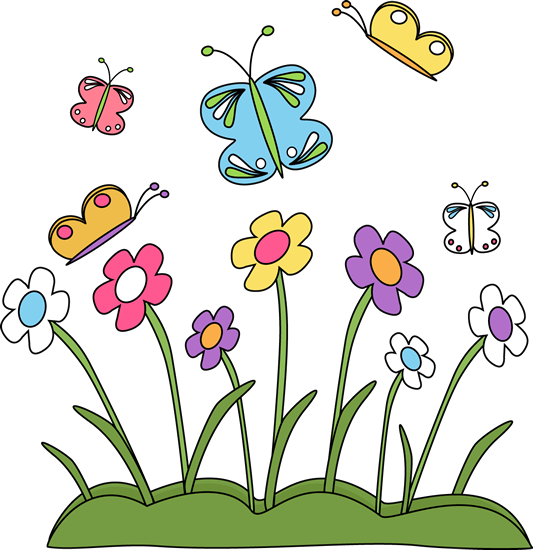 Spring Flowers and Butterflie - Spring Clip Art
