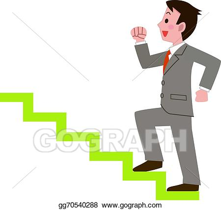 Businessman climbing the stai - Stairs Clipart