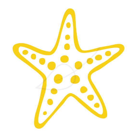 Starfish Digital Stamp Clip Art In Yellow By Greengardenstudios