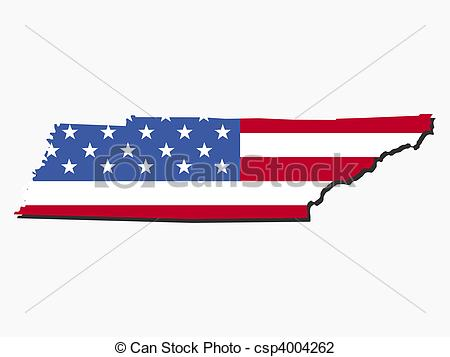 Stock Illustration - Tennessee map flag