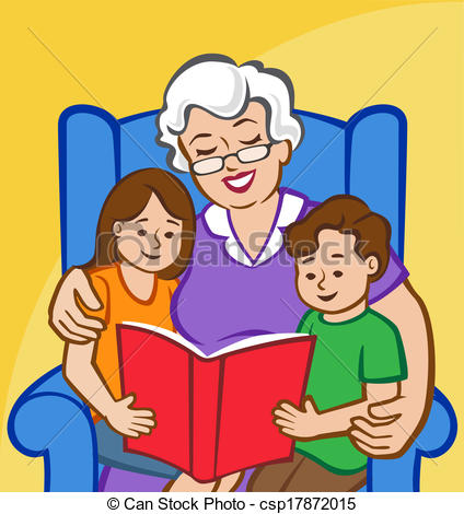 ... Story Time with Grandma - Illustration of a Grandmother.