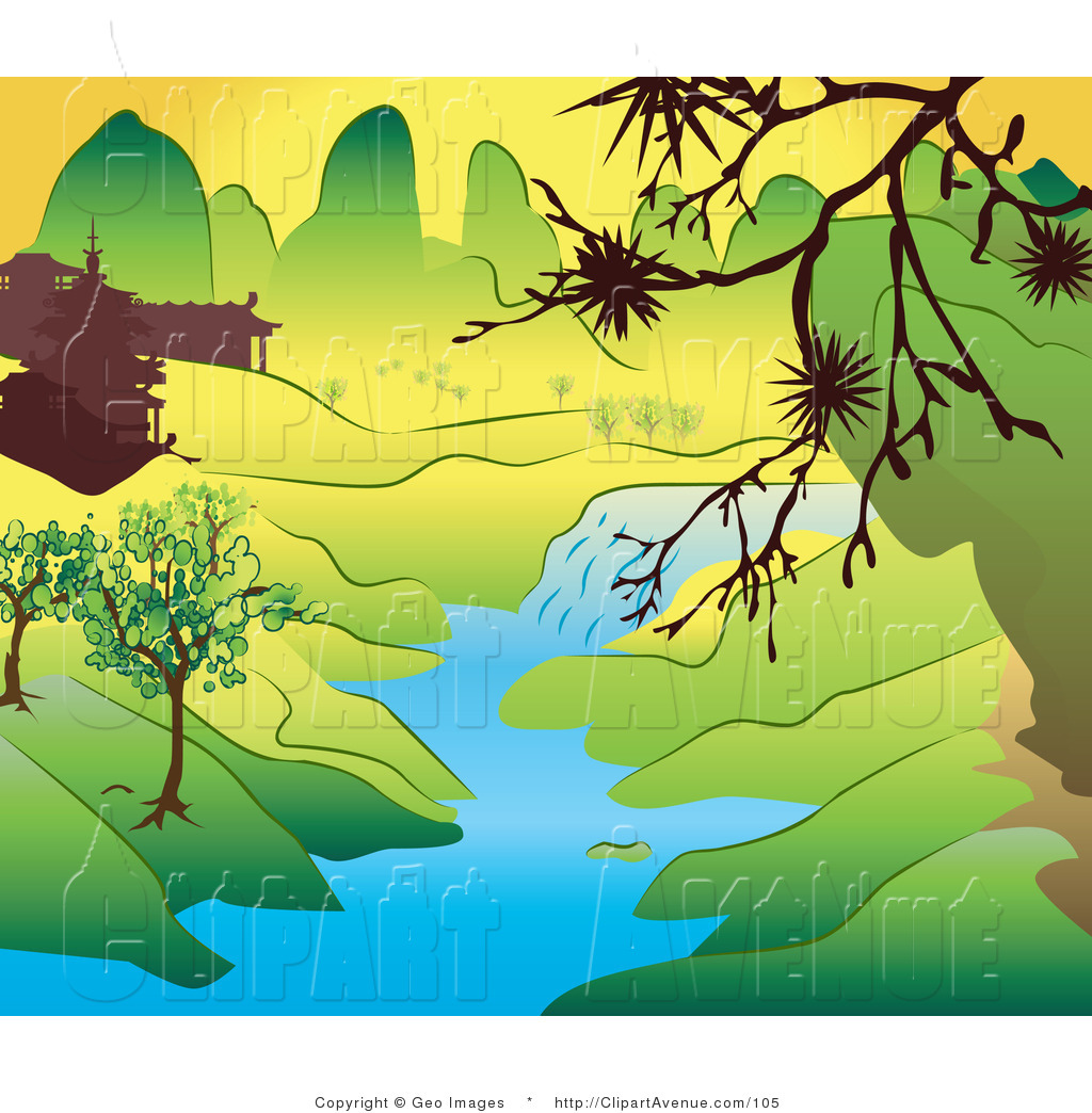 Avenue Clipart of a Japanese Landscape with Mountains, Buildings and a  Stream