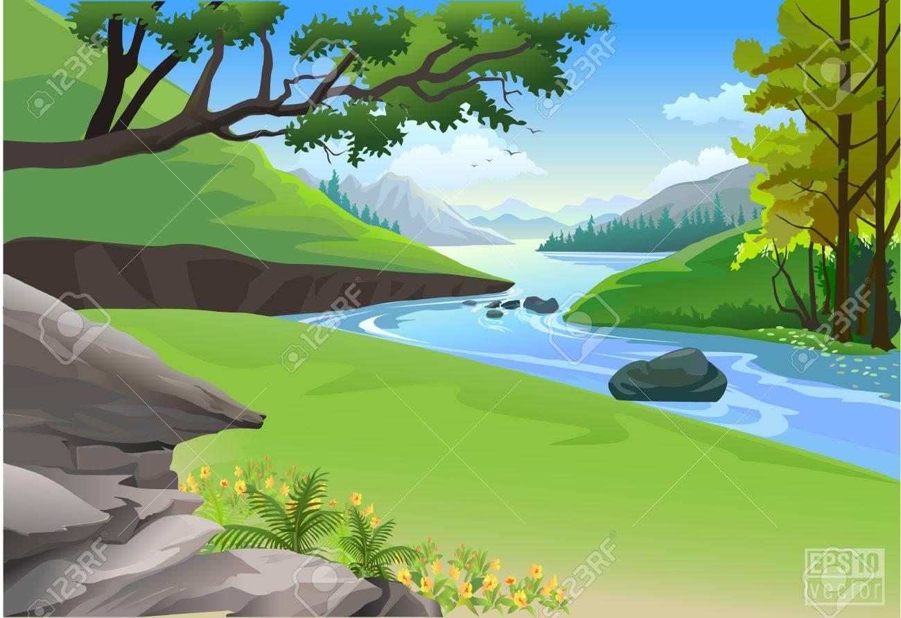 Riverside Hills and Rock natu - Stream Clipart