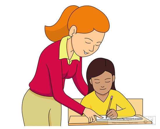 Teacher Working With Student Clipart.