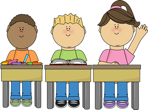 Students At School Clip Art Image Students Sitting At Their Desks In