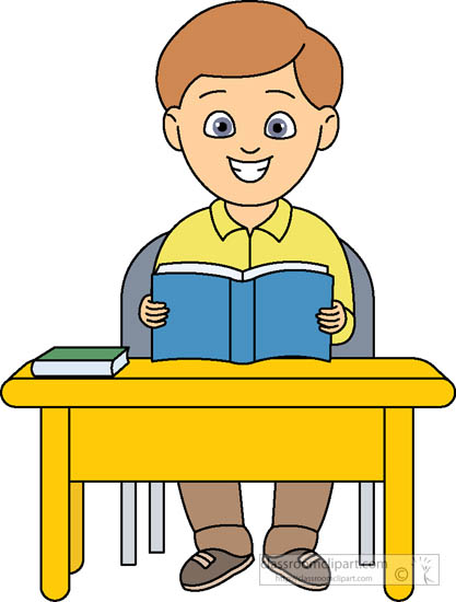 Students reading reading at desk clipart hdclipartall