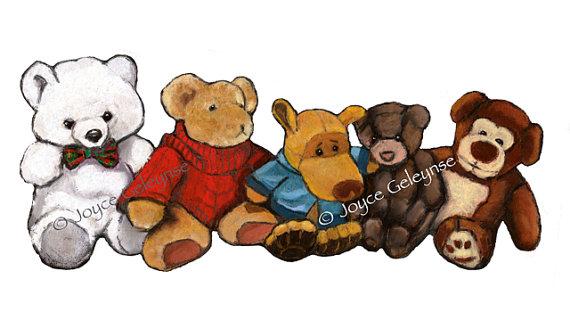 Stuffed Animals Clip Art Freehand Clip Art Five