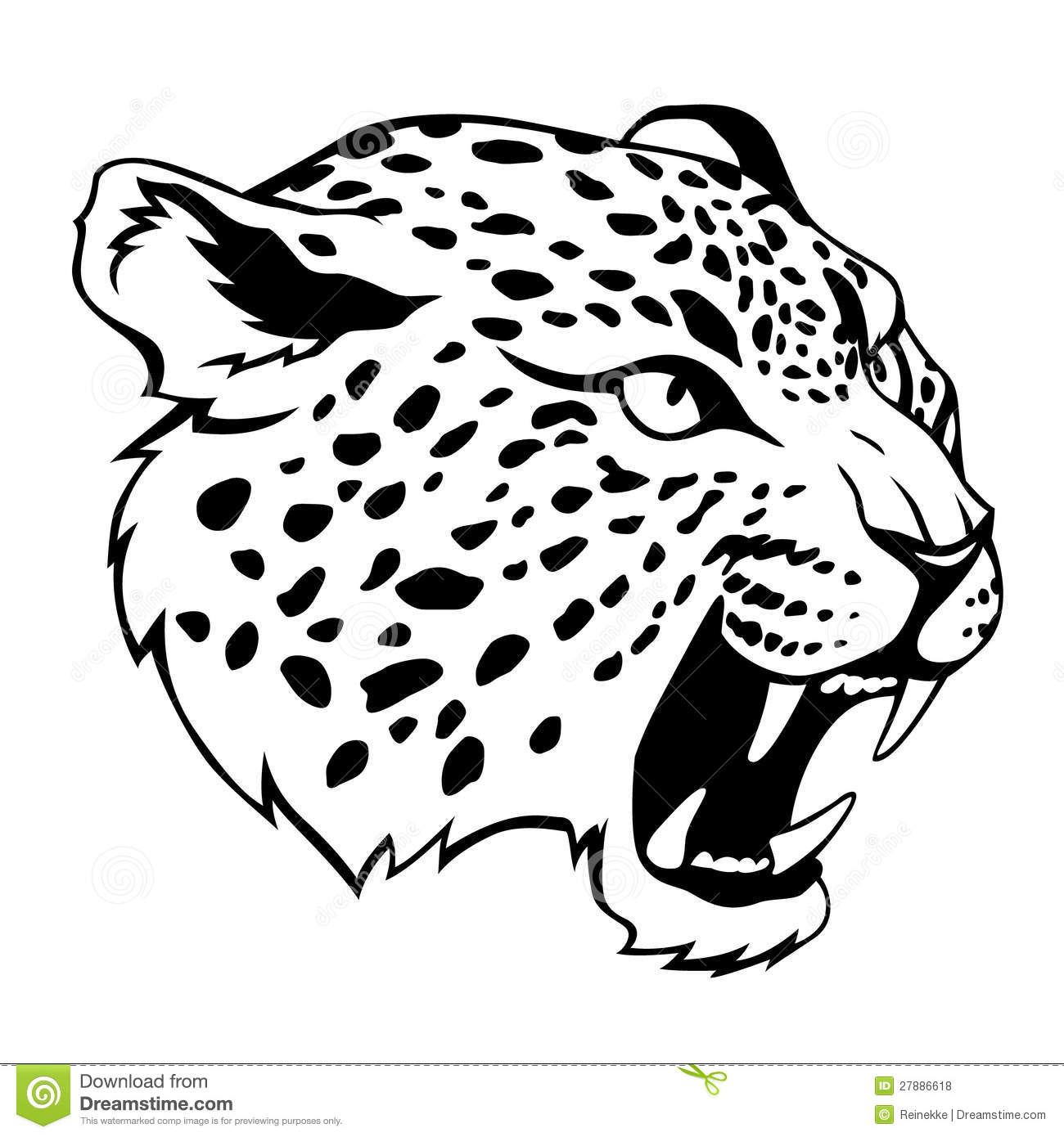 Stylized Jaguar Head Black Illustration