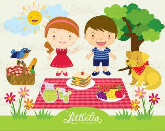 Summer Happy Picnic clipart set / instant download - 14004