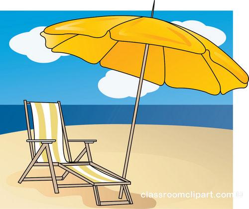 Summer Lounge Chair Umbrella Beach Classroom Clipart