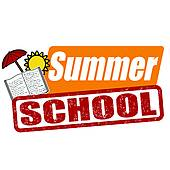 School board with classes; Summer school stamp
